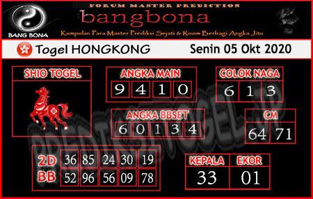 Prediksi Bangbona HK Senin 05 Oktober 2020