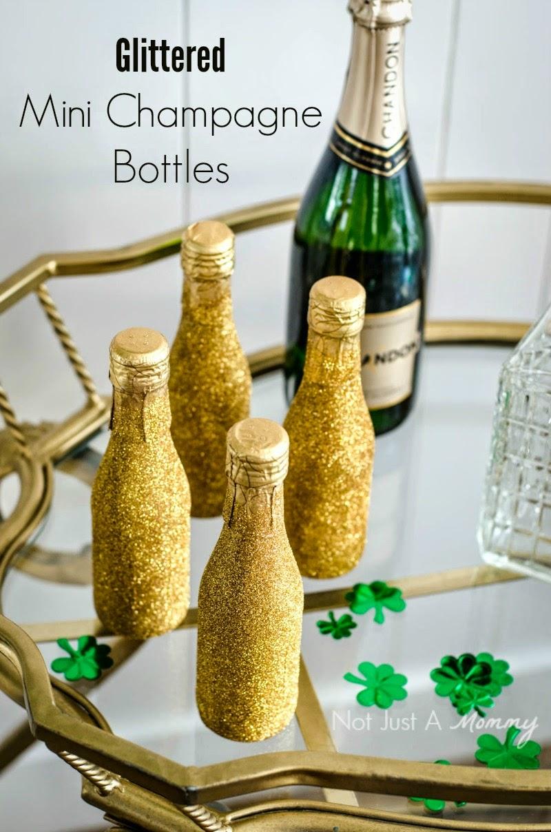 St. Patrick's Day Blogger Party - Glittered Mini Champagne Bottles