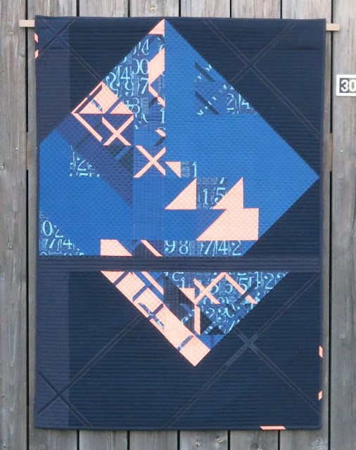 Luna Lovequilts - Eclat - A modern wall hanging quilt in navy and neon orange