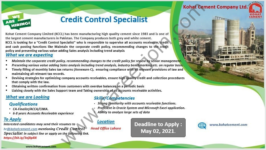 Kohat Cement Company Ltd KCCL Jobs in Pakistan 2021 Credit Control Specialist - Send CV to hr@kohatcernent.com_