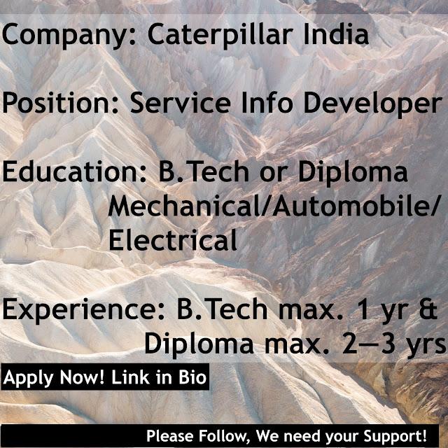 (Job) - Caterpillar India, Chennai | Service Info Developer