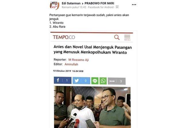 Manfaatkan Isu Insiden Wiranto, Produsen Hoax Serang Novel dan Anies