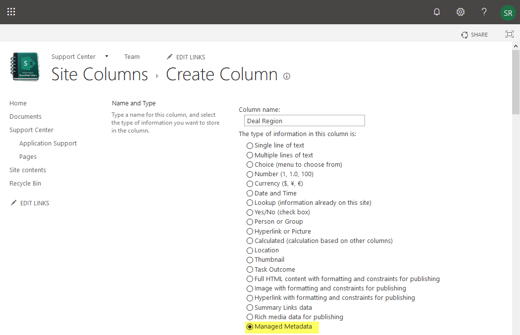 create a managed metadata column sharepoint online