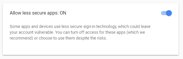 Allow less secure apps for Google