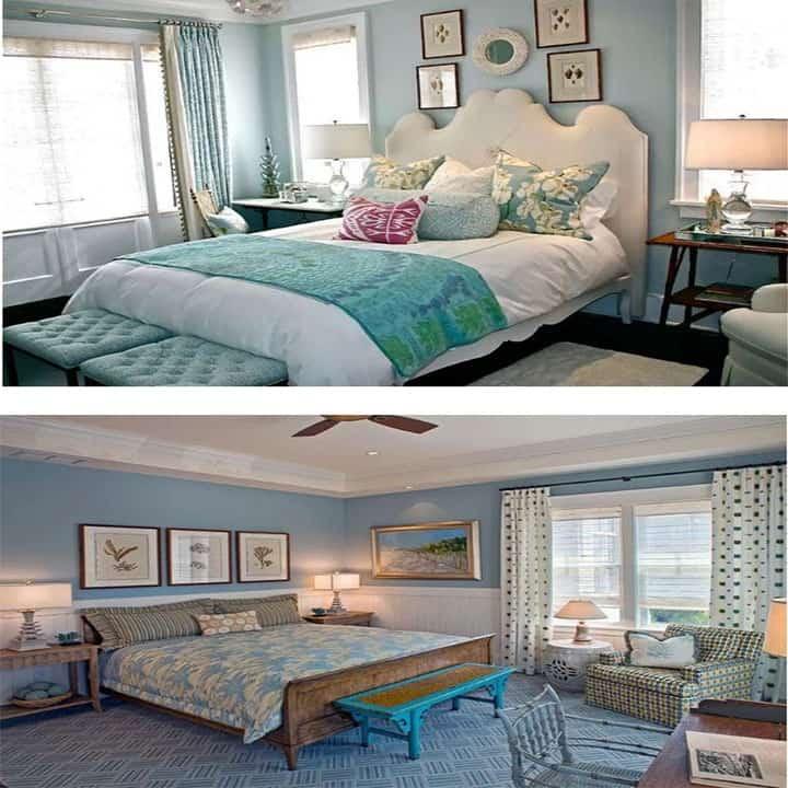 غرفة نوم باللون البني والأزرق