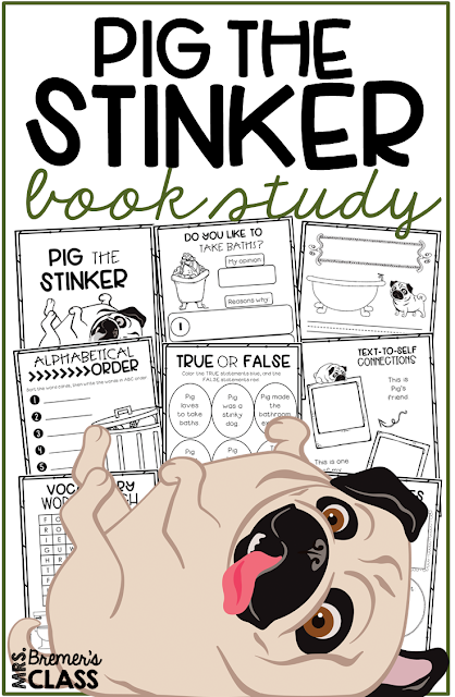 Pig the Stinker book study companion activities to go with the picture book by Aaron Blabey. Perfect for whole class guided reading, small groups, or individual study packs. Packed with lots of fun literacy ideas and guided reading activities. Common Core aligned. K-2 #bookstudies #bookstudy #bookcompanion #bookcompanions #picturebookactivities #1stgrade #2ndgrade #literacy #guidedreading  #pigthepug