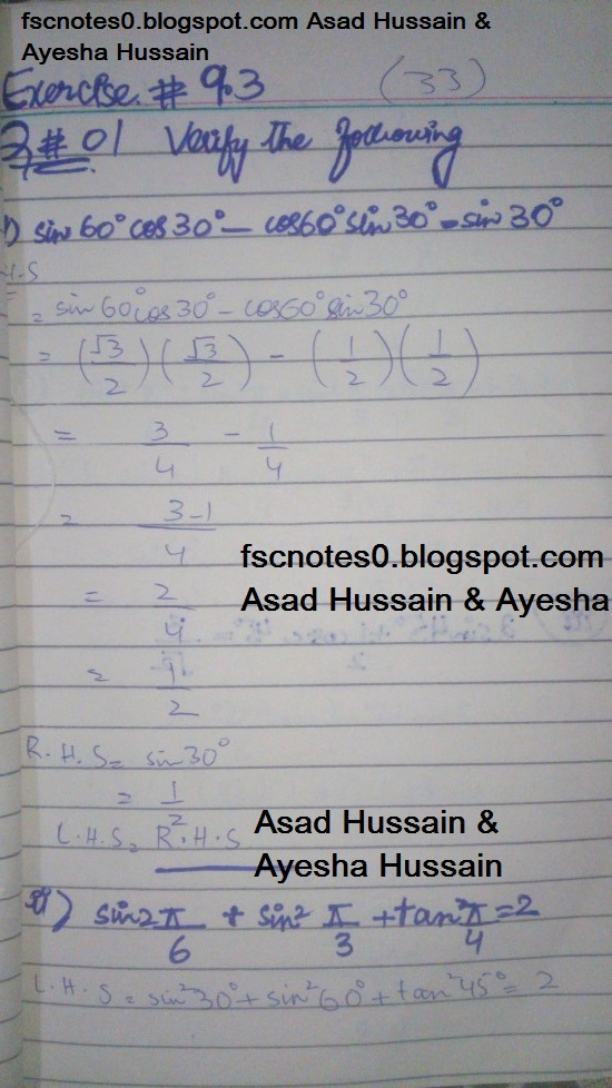 FSc ICS FA Notes Math Part 1 Chapter 9 Fundamentals of Trigonometry Exercise 9.3 Question 1 by Asad Hussain & Ayesha Hussain