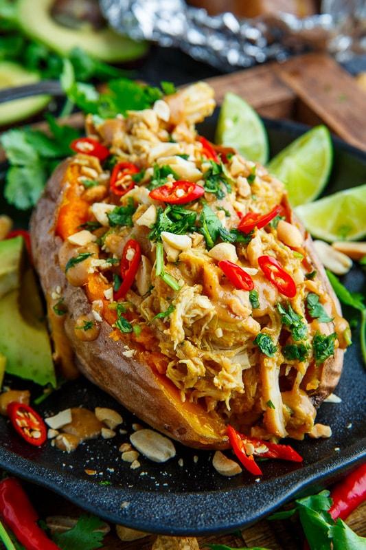 Slow Cooker Peanut Chicken Sweet Potato Boats