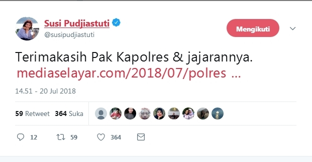 Susi Pudjiastuti : Terima Kasih ,Pak Kapolres Dan Jajarannya
