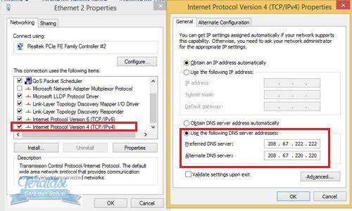 Menggunakan OpenDNS pada pengaturanInternet Protocol Version 4 (TCP/IPv4) - cara mempercepat koneksi internet di windows 8