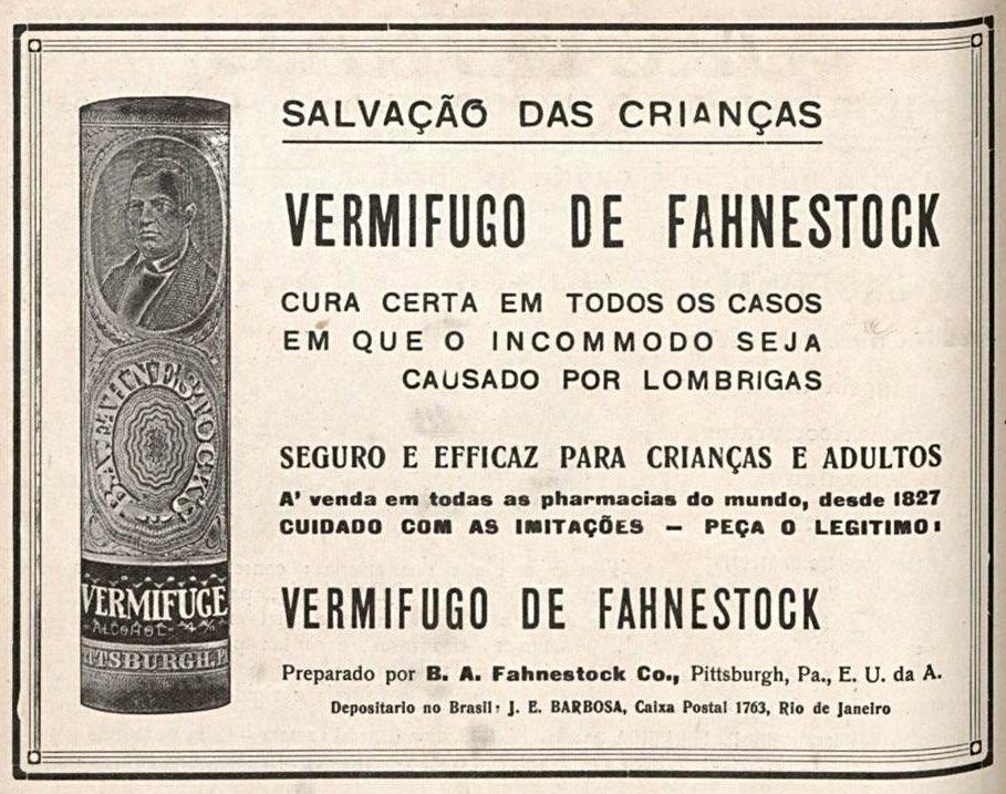 Propaganda veiculada em 1917 promovendo vermífugo para crianças
