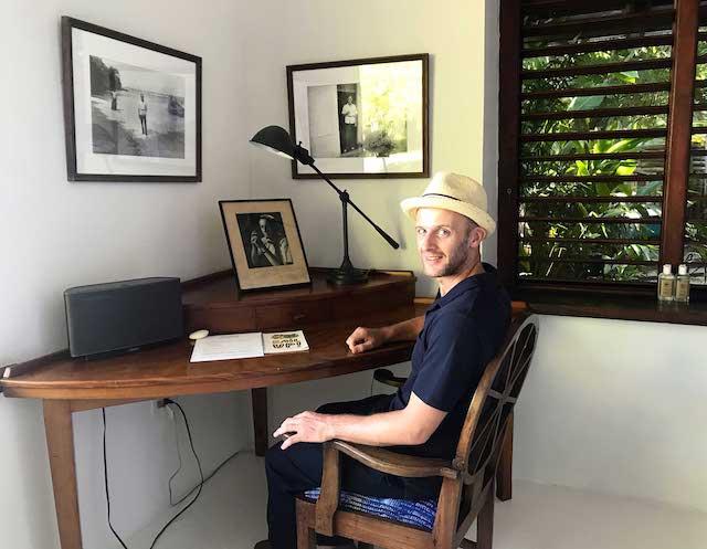 Sitting at Ian Fleming's desk