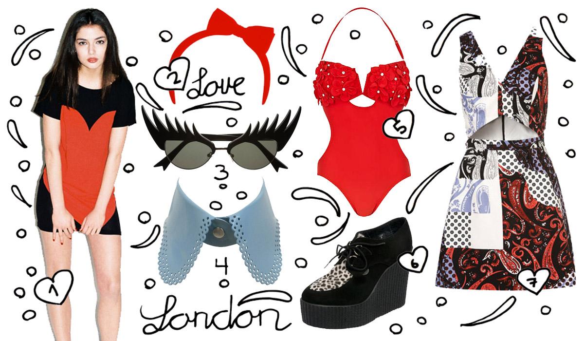 831ee862cf76 3) Eyelash Sunglasses  Tatty Devine 4) Rubber Kitty Collar  Atsuko Kudo 5)  Red Flower Swimsuit  River Island 6) Wedge Creeper Shoes  Underground 7)  Cut-Out ...