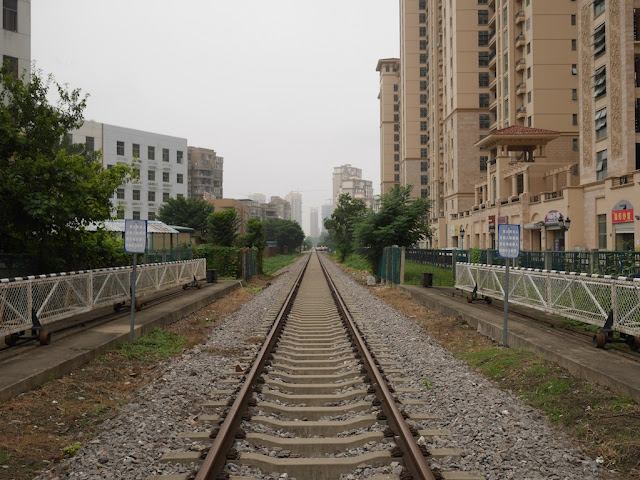 railroad track going of into the distance in Bengbu