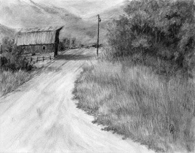 charcoal drawing sketch rural barn oakley utah western art