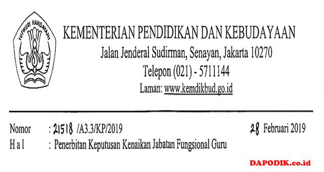 SE Penerbitan  Keputusan  Kenaikan  Jabatan  Fungsional  Guru No:  21518  /A3.3/KP/2019