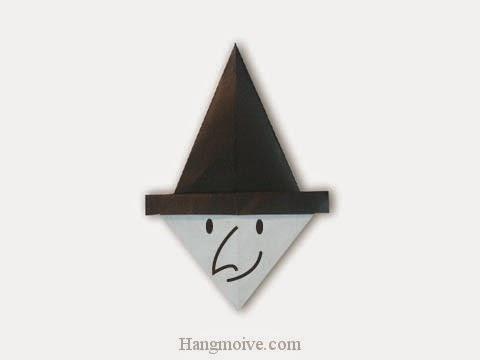 Cách gấp, xếp mặt phù thuỷ bằng giấy origami - Video hướng dẫn xếp hình Halloween - How to fold a witch