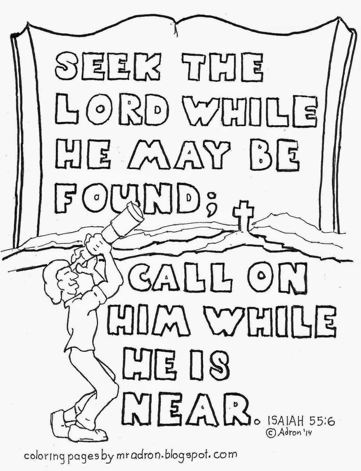 An illustration of Isaiah 55:6 to print and color.