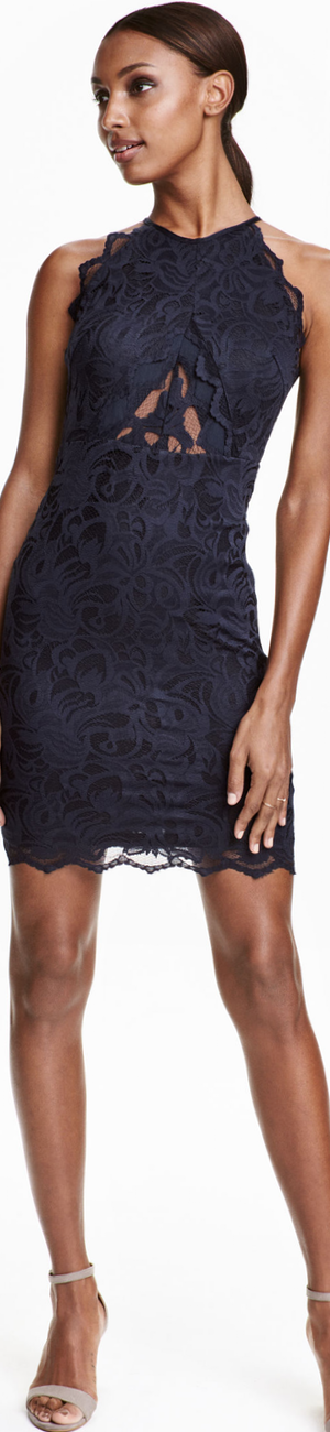 H&M Lace Dress in Dark Blue