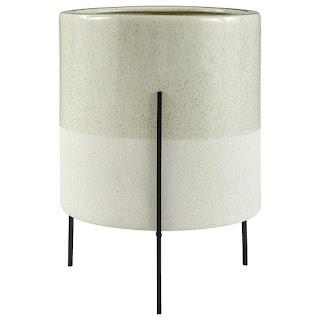flower pot, flower pot with metal stand, midcentury modern, indoor flower pot