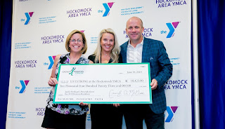 Golf Fights Cancer presents a check to the Hockomock Area YMCA. Pictured L-R: Cheryl McGuire, Executive Director of Golf Fights Cancer; Jackie Robison, Hockomock Area YMCA LIVESTRONG Program Coordinator; and Brian Oates, Co-Founder of Golf Fights Cancer.