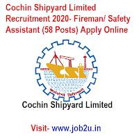 Cochin Shipyard Limited Recruitment 2020, Fireman, Safety Assistant