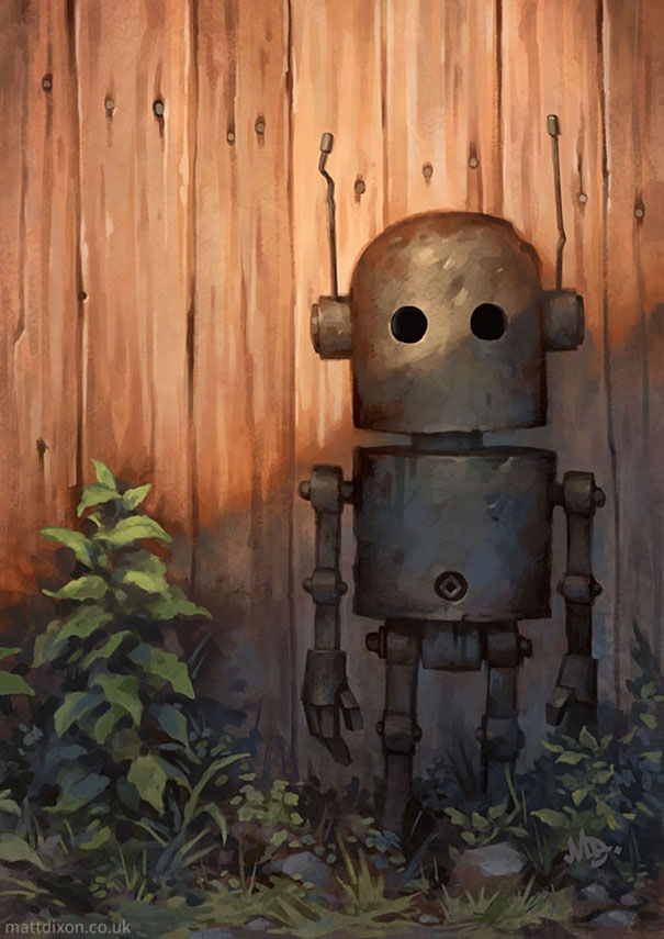 10-Matt-Dixon-Illustrations-of-Lonely-Robots-Experiencing-The-World-www-designstack-co