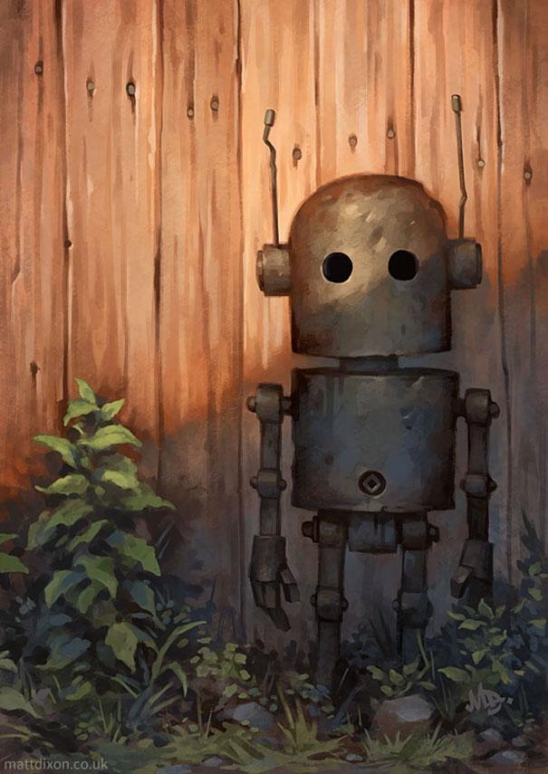 10-Matt-Dixon-Illustrations-of-Lonely-Robots-Experiencing-The-World-www-designstack-co