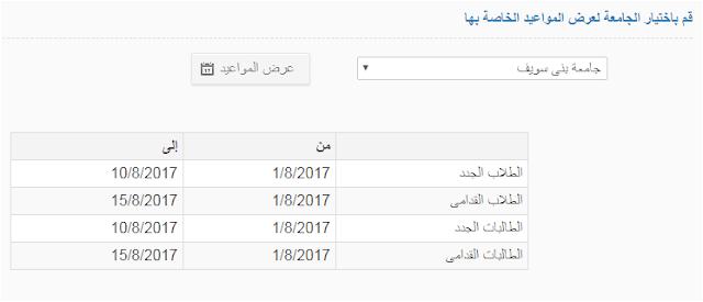 مواعيد التقديم بالمدينة الجامعيه بجامعة بنى سويف 2017_2018 'نظام الزهراء الجامعى'