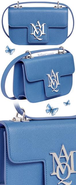 Alexander McQueen blue Insignia leather crossbody satchel bag #brilliantluxury