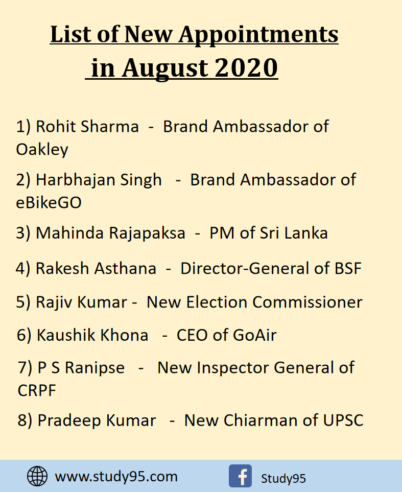 New Appointments in August 2020