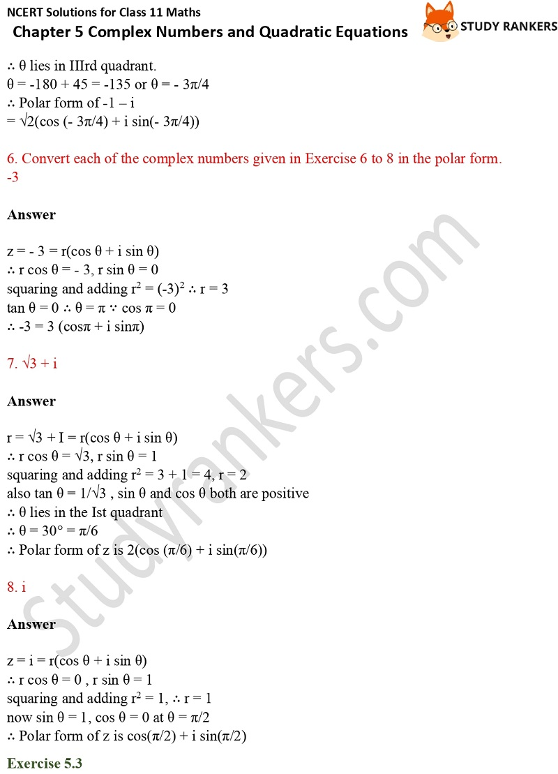 NCERT Solutions for Class 11 Maths Chapter 5 Complex Numbers and Quadratic Equations 6