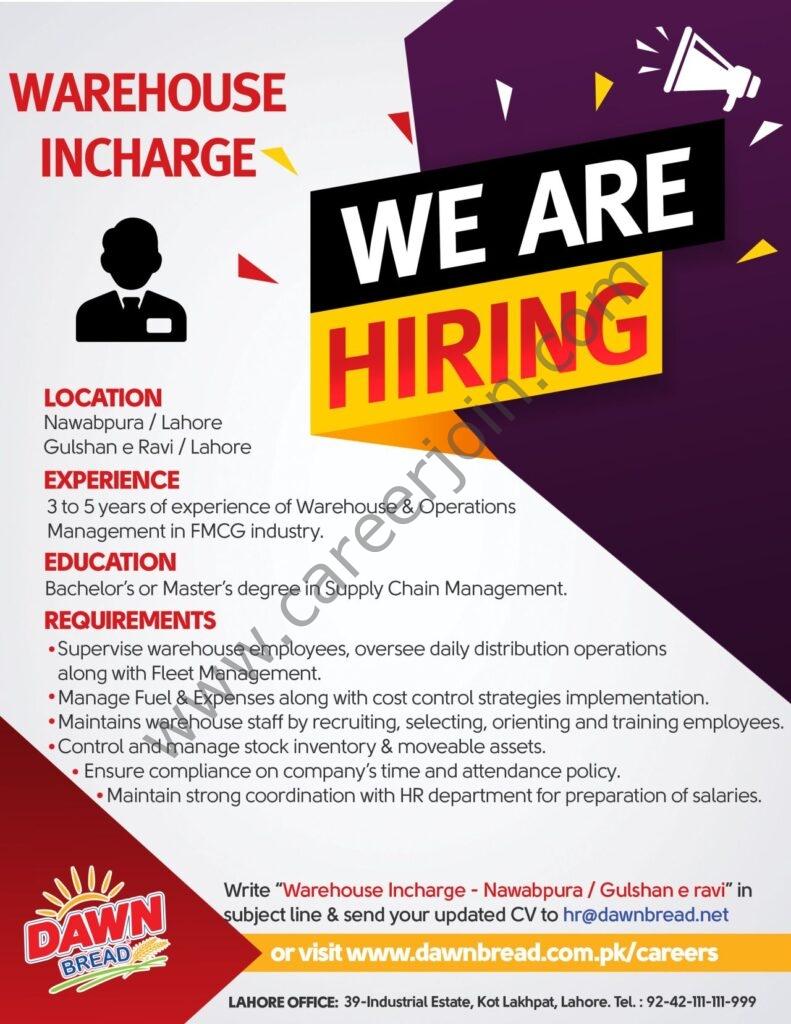 Dawn Bread Jobs 2021 in Pakistan For Warehouse Incharge Post - Send CV to hr@dawnbread.net_
