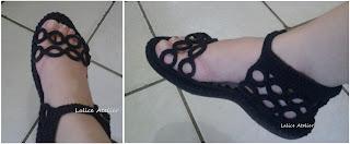 sandália crochê adulto, sandália crochê argola