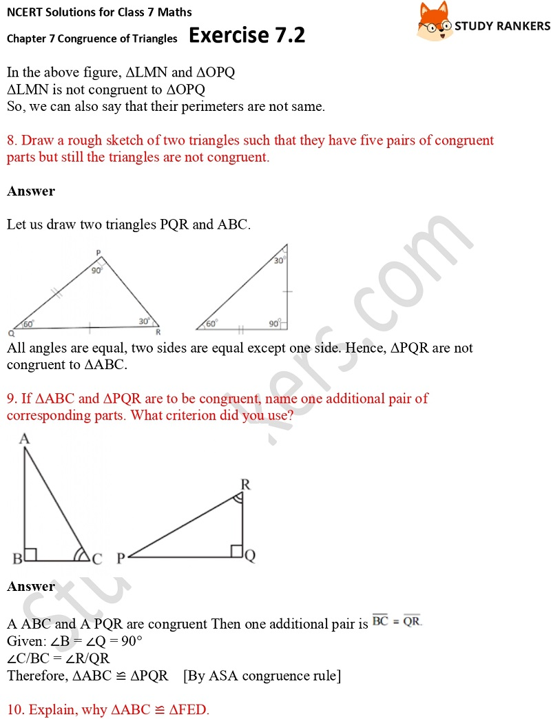 NCERT Solutions for Class 7 Maths Ch 7 Congruence of Triangles Exercise 7.2 6