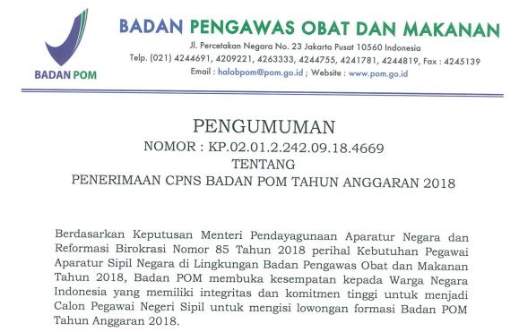 Persyaratan dan Tata Cara Pendaftaran CPNS BPOM  PENGUMUMAN FORMASI, PERSYARATAN DAN TATA CARA PENDAFTARAN CPNS BPOM (BADAN POM) TAHUN 2018