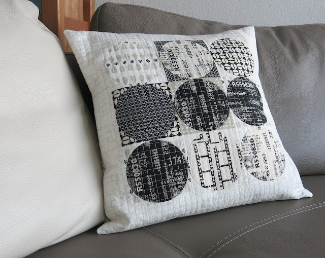Luna Lovequilts - A black and neutral cushion / pillow - Hand applique circles and grid machine quilting