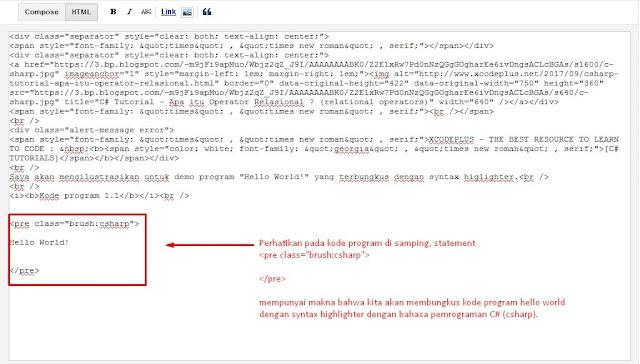 Blogger Tips - Cara Memasang Syntax Highlighting Responsive di Blogger