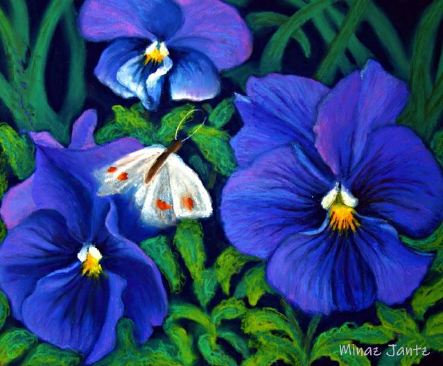 Purple Pansy & White Moth by Minaz Jantz (Pastel)