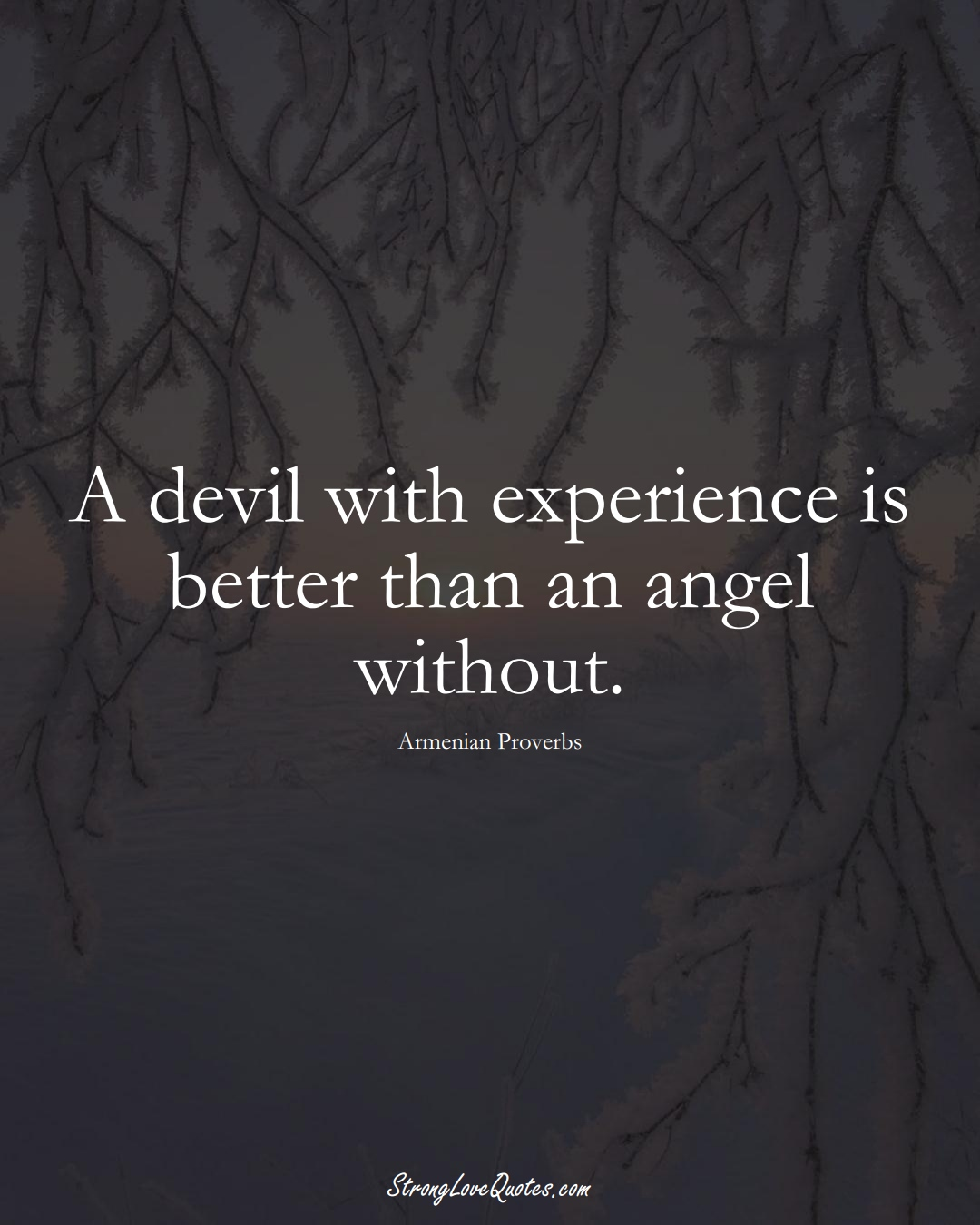 A devil with experience is better than an angel without. (Armenian Sayings);  #AsianSayings