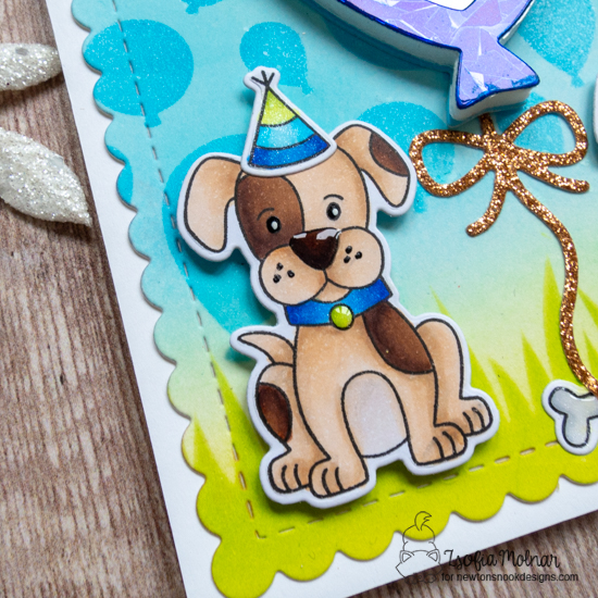 Happy Birthday Shaker Card by Zsofia Molnar | Puppy Playtime Stamp Set, Uplifting Wishes Stamp Set, Balloon Shaker Die Set, Frames & Flags Die Set, Balloon Stencil and Hills & Grass Stencil by Newton's Nook Designs #newtonsnook #handmade