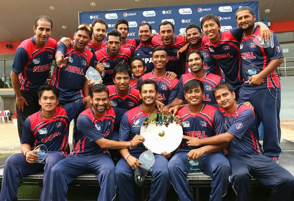 nepal cricket team after wining icc division 3 championship
