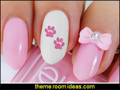Paw Prints Water Slide Nail Art Decals bow nail decorations pink paw prints nail decals animal nail design ideas