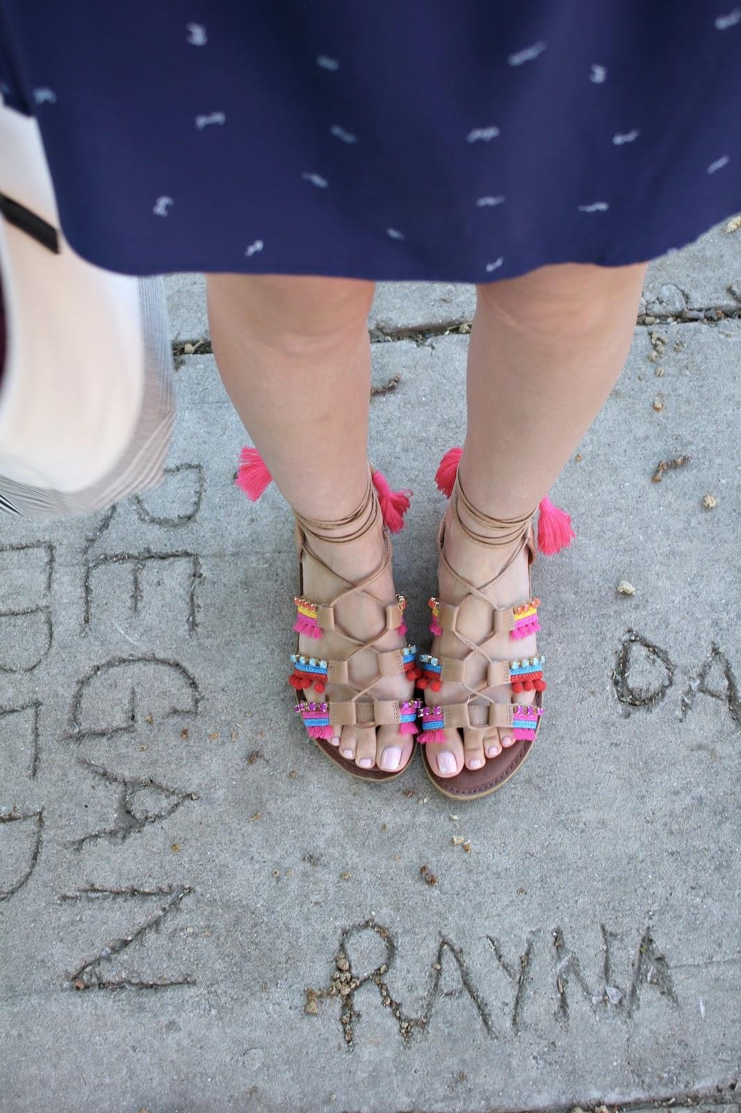 Neon Lace Up Sandals