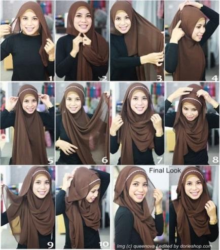 tutorial hijab kerudung paris style 4