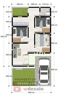 Desain Rumah Ukuran 6x9, Minimalis dengan 3 Kamar Tidur