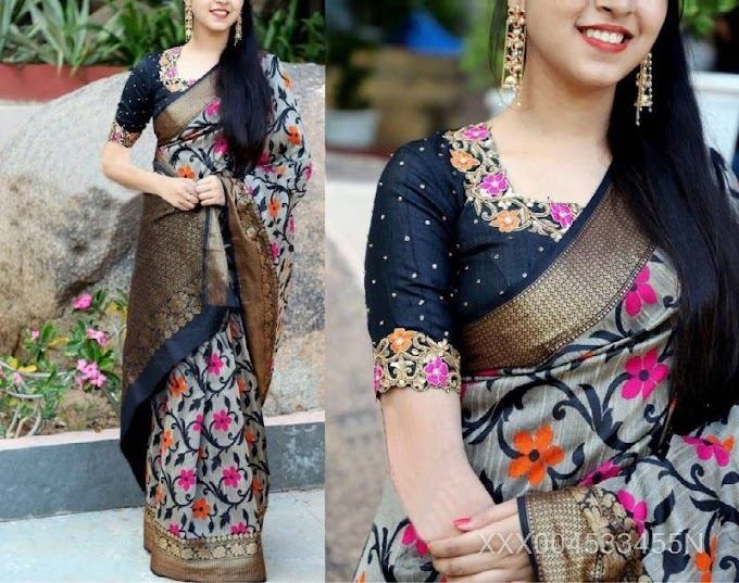 Silk Printed Floral Saree