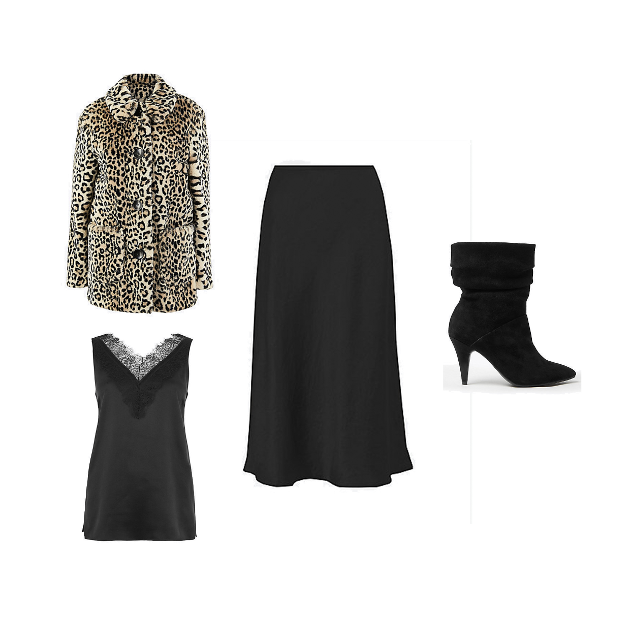 my midlife fashion, marks and Spencer party wear, party wear, marks and Spencer faux fur animal print coat, marks and Spencer pure silk lace trim camisole top, marks and Spencer slip midi skirt, marks and Spencer suede ruched pointed ankle boots