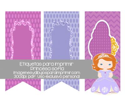 Etiquetas de princesa sofia para imprimir