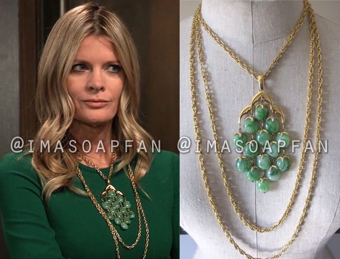 Nina Reeves, Michelle Stafford, Vintage Layered Gold and Green Bead Waterfall Necklace, General Hospital, GH